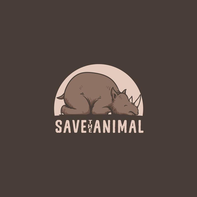 保存犀牛动物标志插图矢量