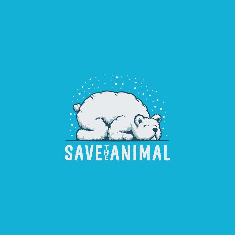 保存熊动物标志插图矢量