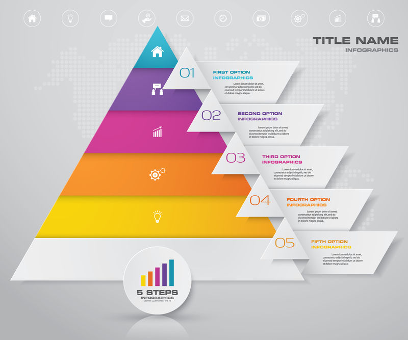 金字塔每一层都有文本的自由空间矢量