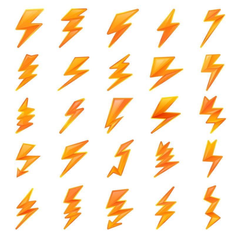 闪电箭组卡通风格矢量