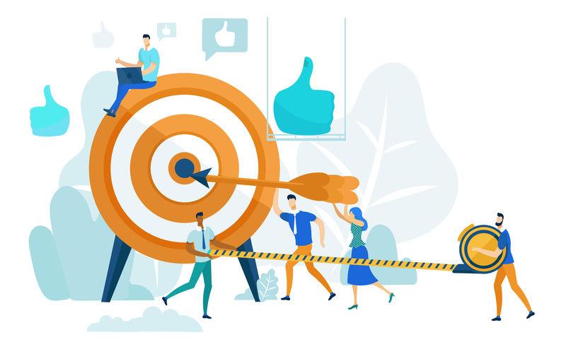 实现目标领导能力和团队合作理念矢量