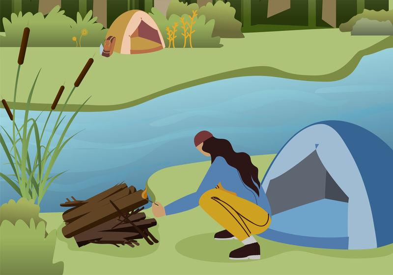 女性徒步旅行者营火平面矢量特征向量