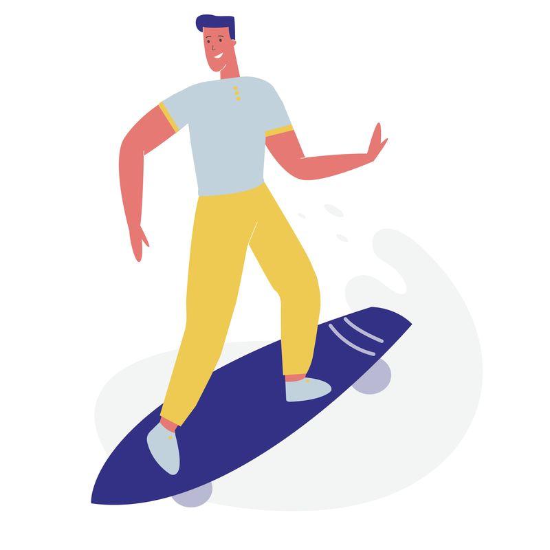 穿着时髦衣服的年轻人骑滑板矢量