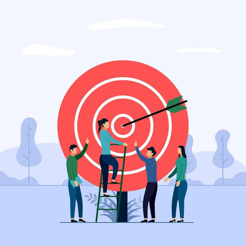 目标业务团队合作箭头击中目标矢量