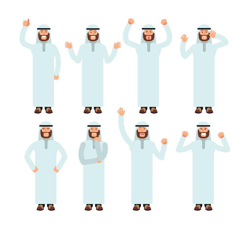 阿拉伯男人站着用不同的手势和表情矢量