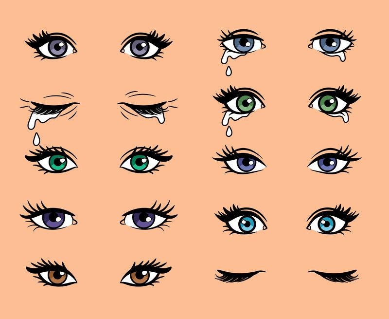 卡通波普艺术女性眼睛矢量