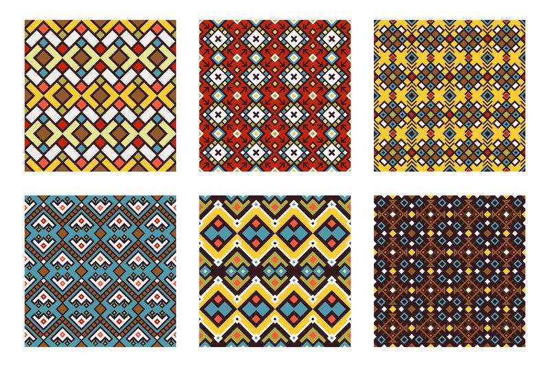 部落装饰品彩色无缝图案集矢量