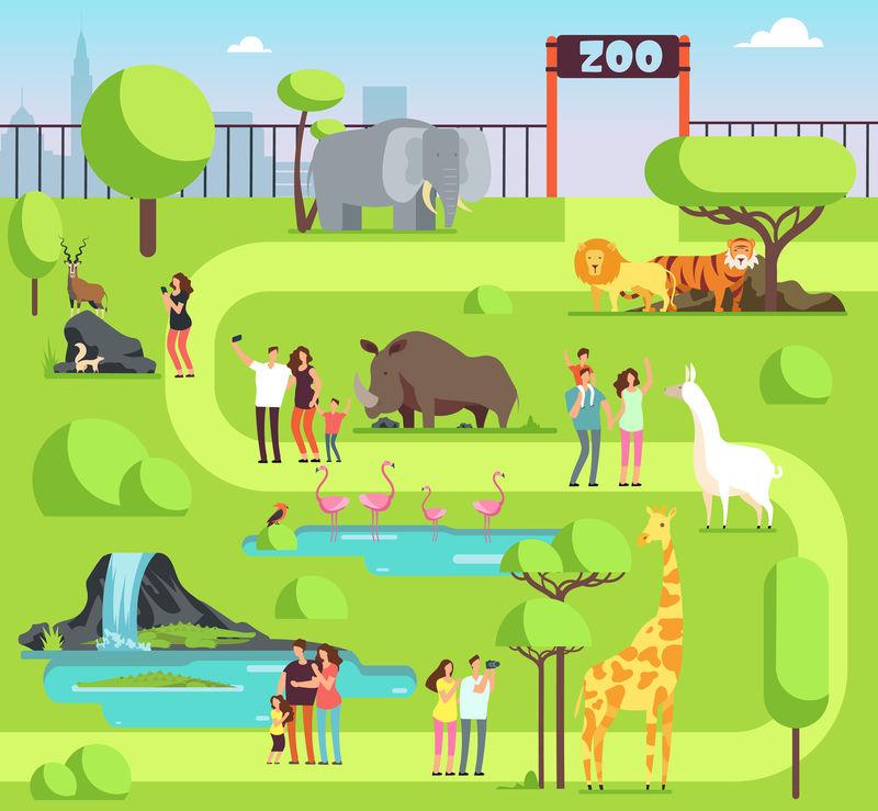 有游客和野生动物的卡通动物园矢量
