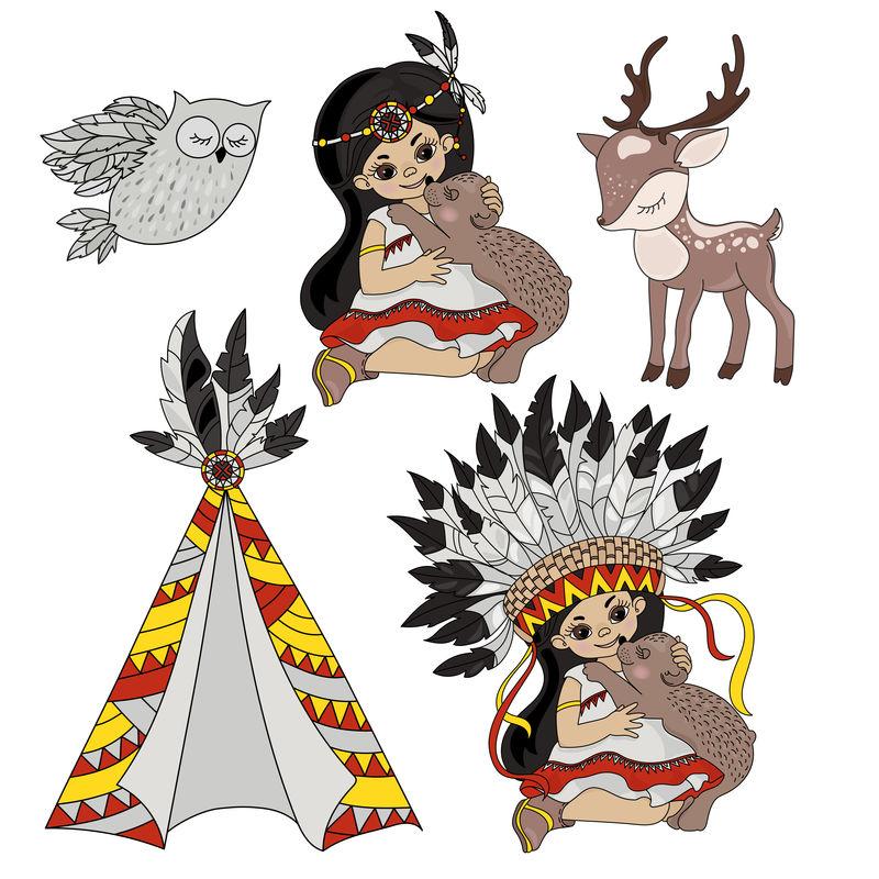 印第安公主宠物矢量
