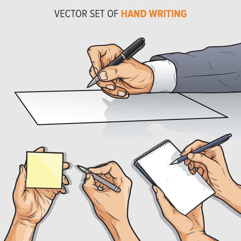 手写纸记事本和便签矢量的矢量集
