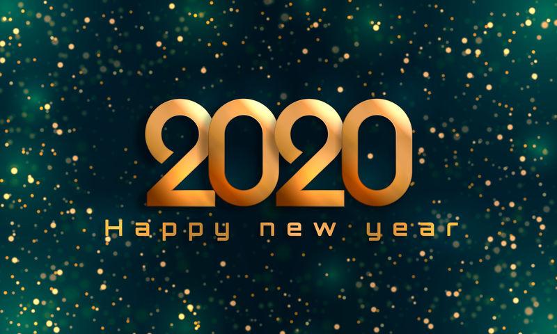 波基闪耀圣诞2020背景-具有现实效果的节日概念-抽象散焦圆形派对魔术圣诞灯-设计新年派对-销售-贺卡