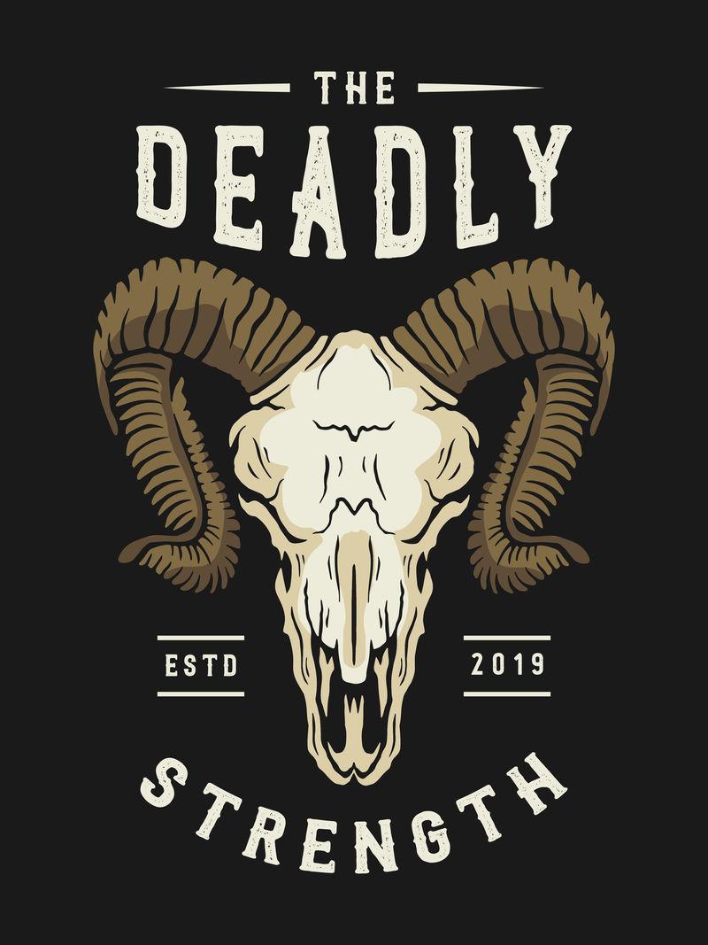 复古动物头骨图案印花-复古牛仔印花t恤或服装-复古艺术品和印刷