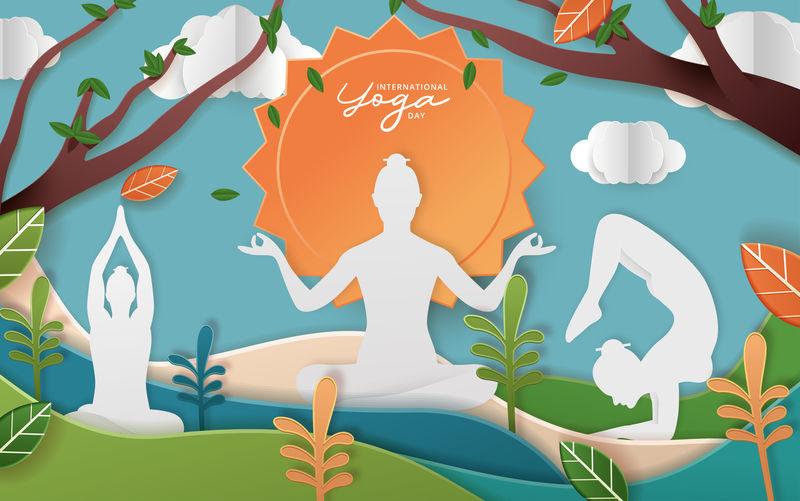 国际瑜伽日矢量插图横幅、宣传册和海报设计。6月21日庆祝世界瑜伽日
