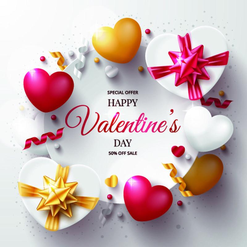 情人节促销海报-带红色顶视图礼物、蜡烛、3d心形和五彩纸屑-喜欢设计-特价-矢量木背景