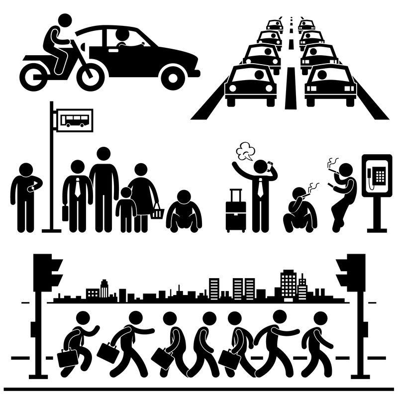 都市生活都市繁华街道交通繁忙高峰时段人贴人物象形图标
