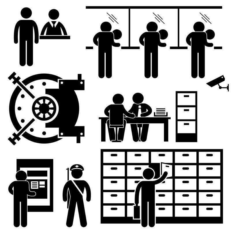 银行业务财务员职员代理顾问客户安全棒图形象形图标