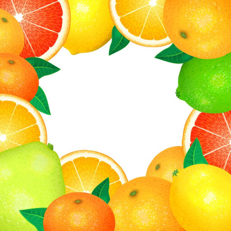 新鲜柑橘的框架。天然生物水果,健康有机食品。