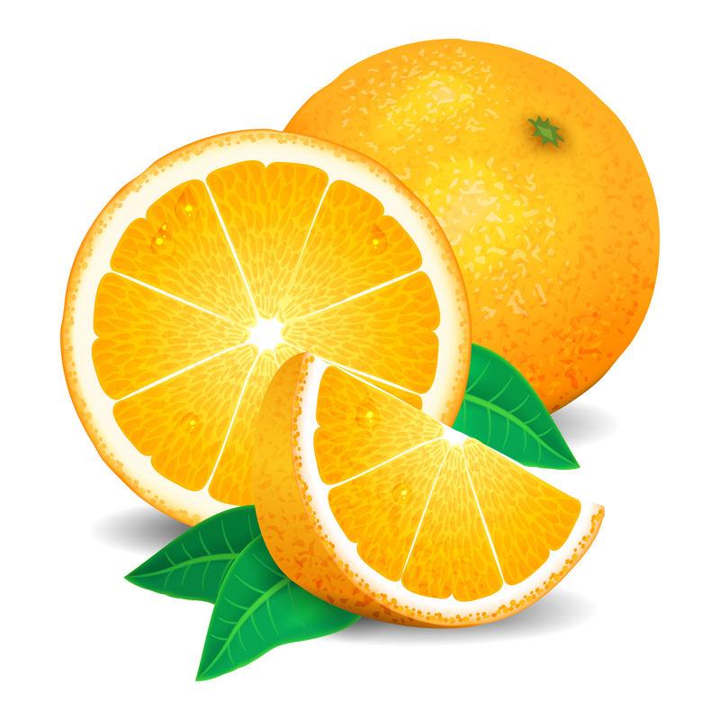新鲜的橘子水果,橘子片。真实橘子,矢量