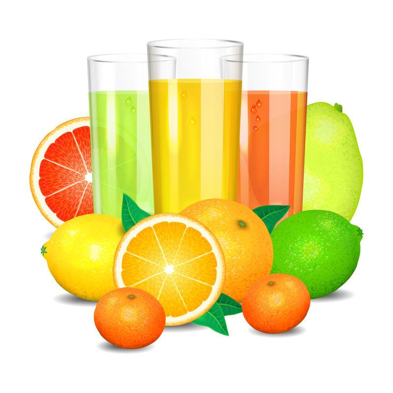 新鲜柑橘汁和水果。柑橘类水果(橙子、柠檬、柠檬)