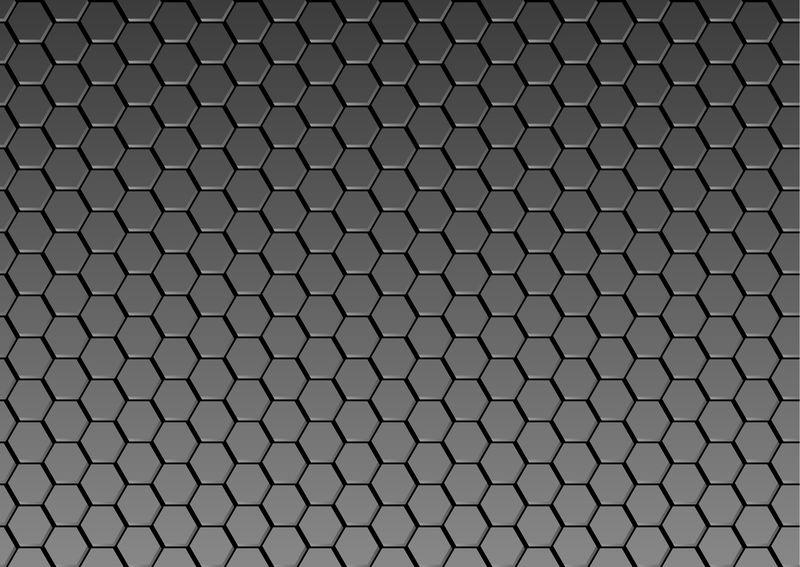 抽象黑色六边形背景;概念性深色几何图像;三维绘制