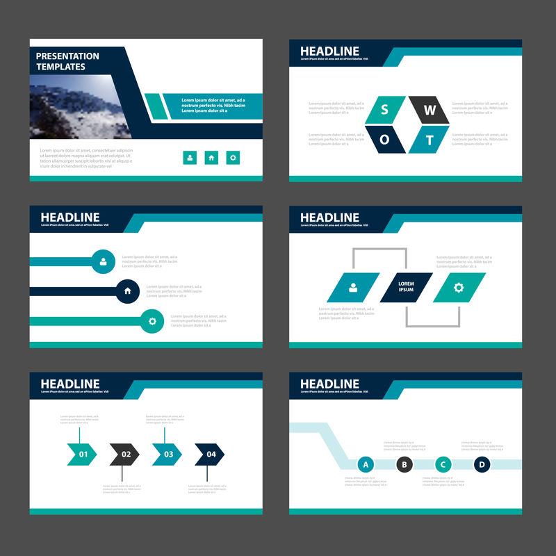 蓝绿色演示模板信息图形元素平面设计集-用于宣传小册子传单营销广告