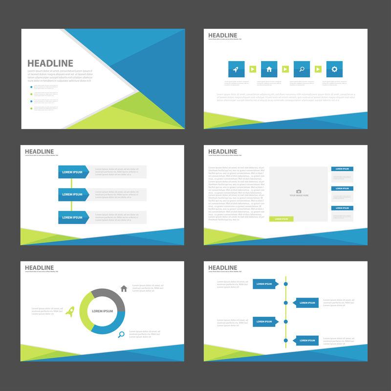 蓝绿色演示模板信息图形元素小册子传单营销广告的平面设计集