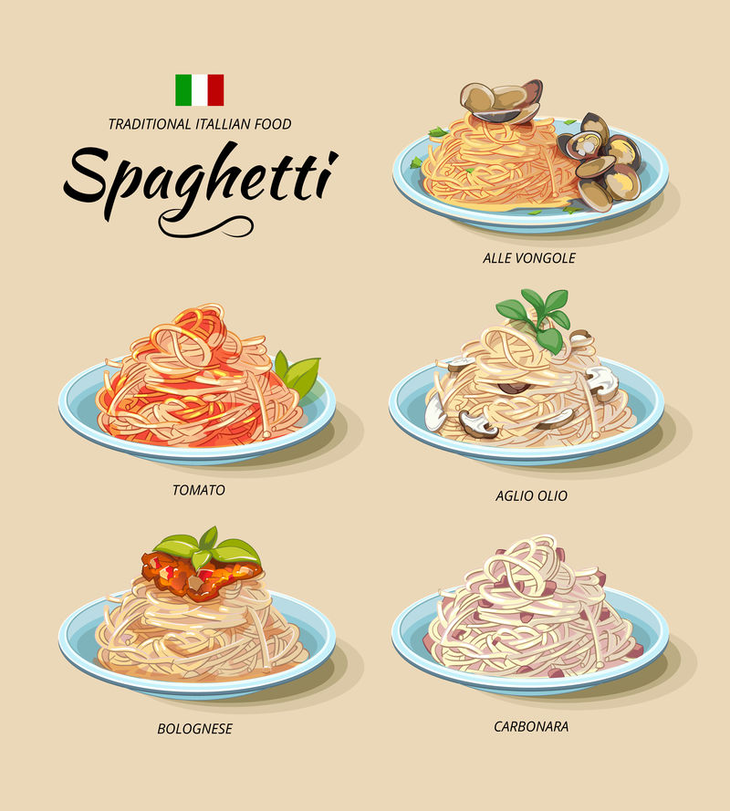 卡通风格的意大利面或意大利面