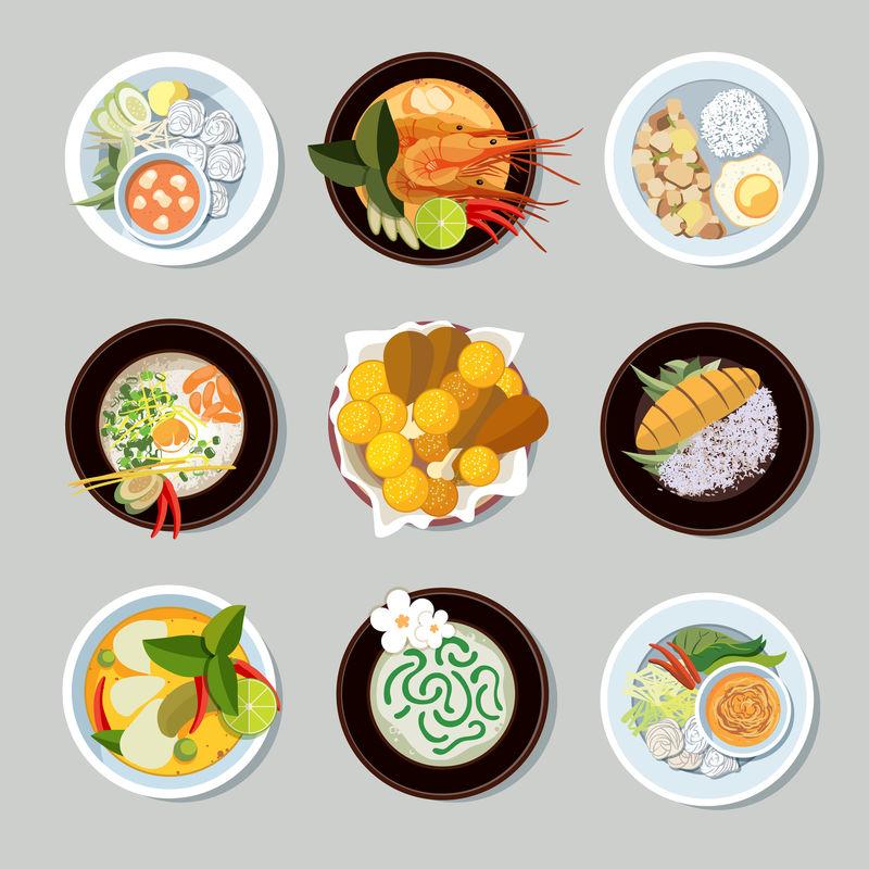 泰国食物向量图标集