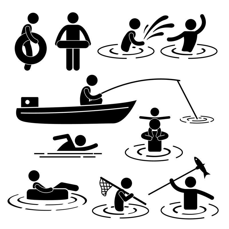 人民儿童休闲游泳垂钓嬉水棒人物象形图标
