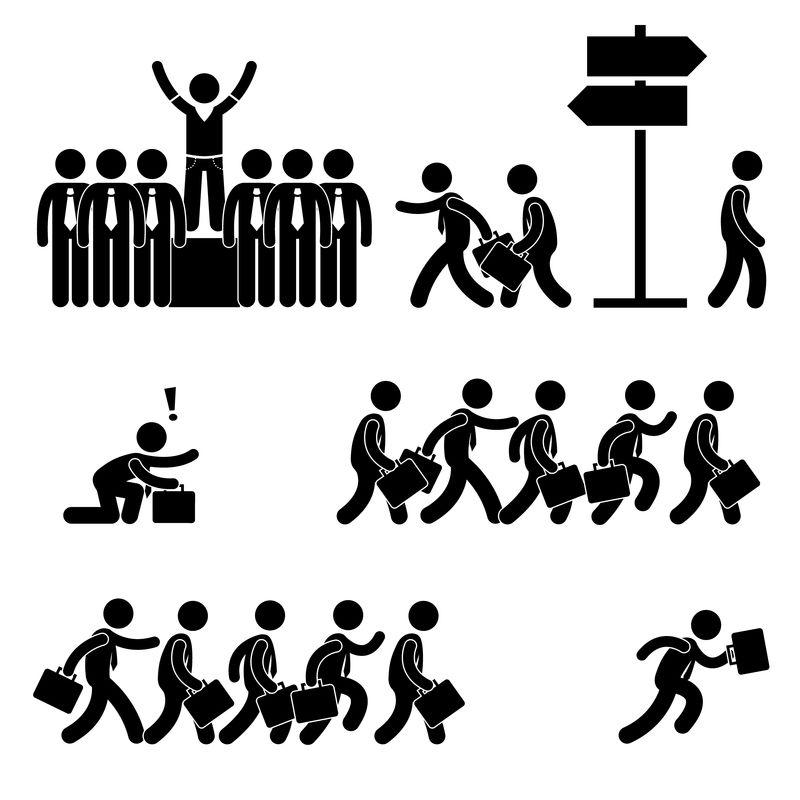 脱颖而出成功的商业竞争生涯中人们贴出的图形象形图标