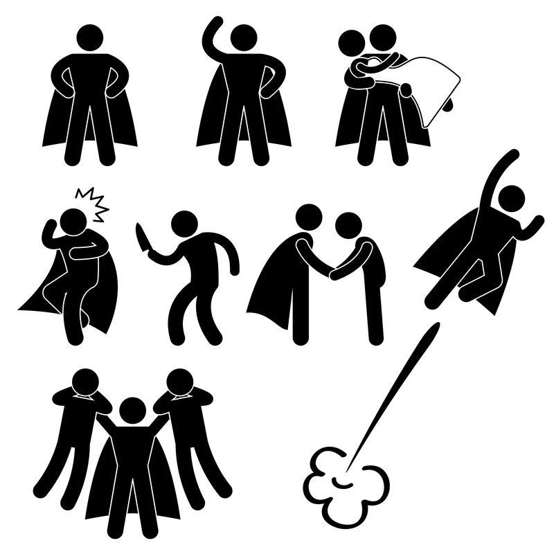 超级英雄救人护航女孩飞人图标标志象形图