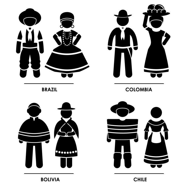 南美-巴西哥伦比亚玻利维亚智利男子女子传统服装服饰图标符号标志象形图