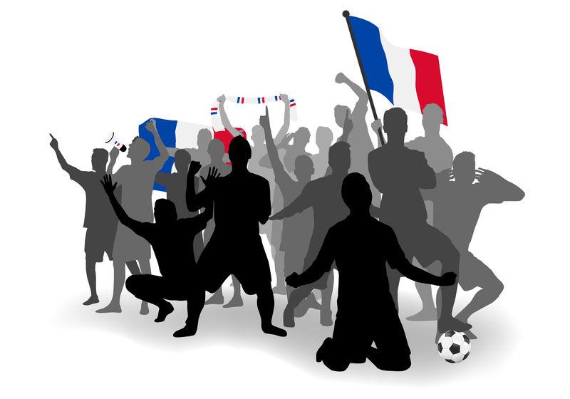 俄罗斯2018世界杯-法国足球迷-兴高采烈的球迷、球迷和法国国旗-法国国庆节-等距人物-矢量插图-运动图像-孤立的背景
