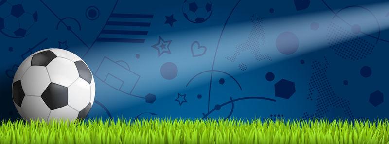 带天空背景的草地足球-三维渲染