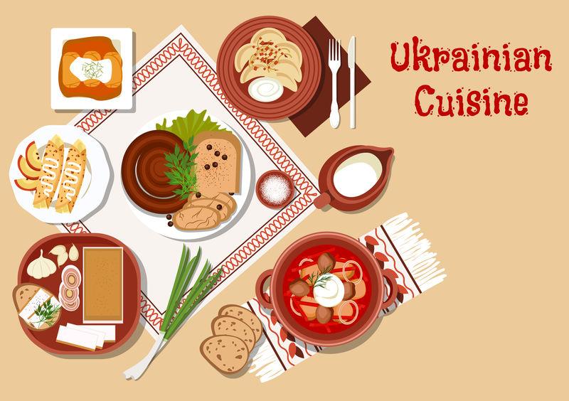 乌克兰菜肴-陶瓷锅罗宋汤-酸奶油-卷心菜卷和蔬菜饺子-配洋葱-香肠和脂肪-大蒜和黑麦面包-薄煎饼和牛奶
