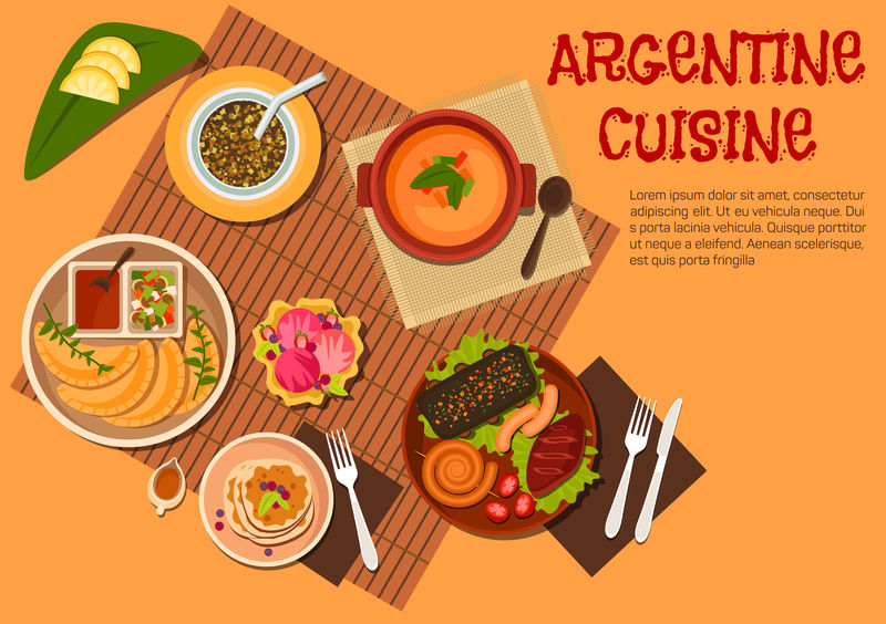 阿根廷阿萨多菜配甜点平面图标