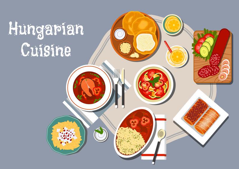 匈牙利菜奶油芝士炸面包朗格斯-配萨拉米香肠-芝士鸡蛋面和炖肉-辣椒鱼汤-蔬菜沙拉和柠檬蛋糕