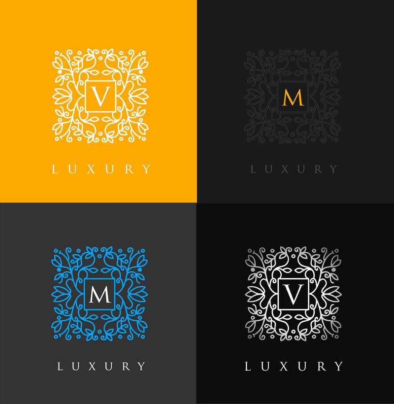 豪华字母标志-简约典雅的花卉设计标志-优雅的线条奢华的矢量标志设计