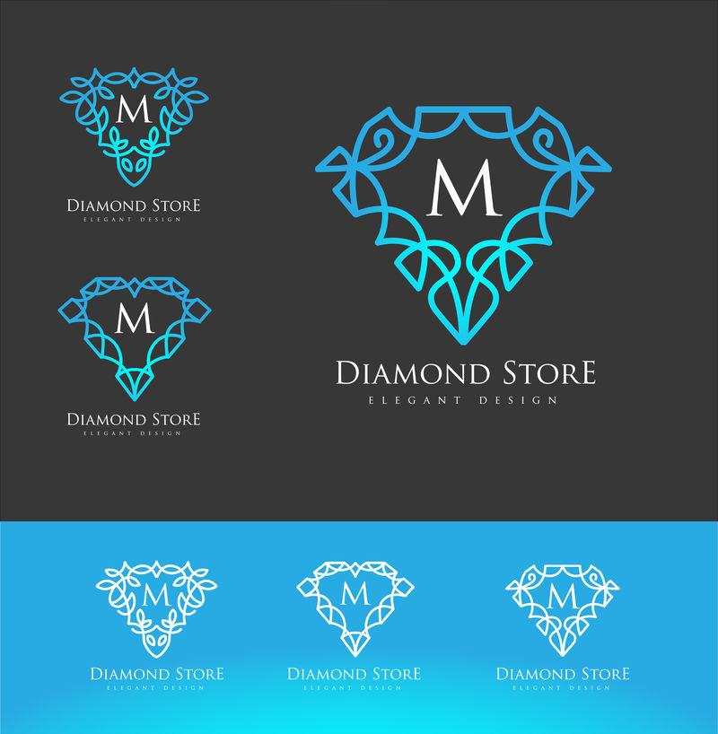 豪华钻石标志-简约典雅的钻石设计标志-优雅的线性豪华钻石标志设计