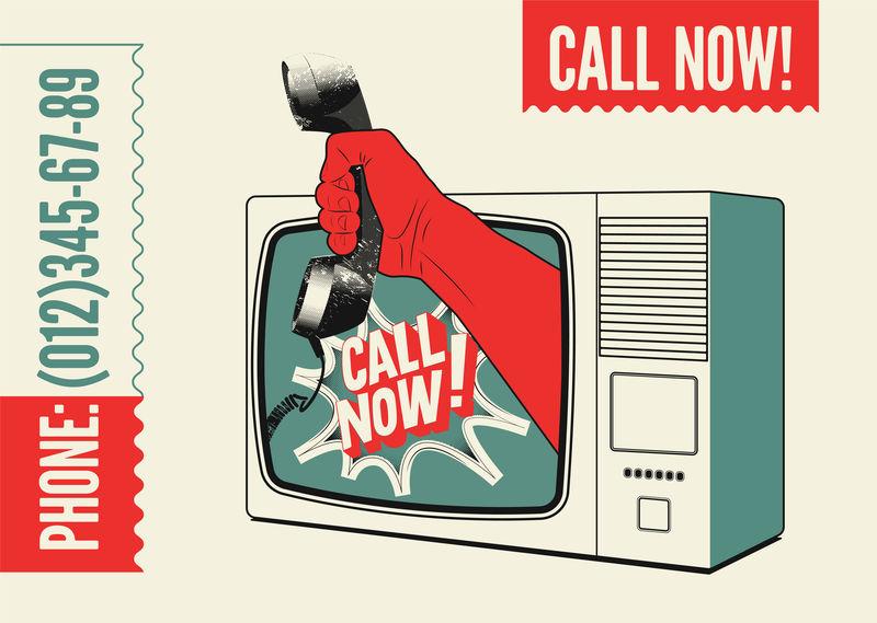 马上打电话!印刷复古海报-拿着电话听筒的手看电视-矢量图解