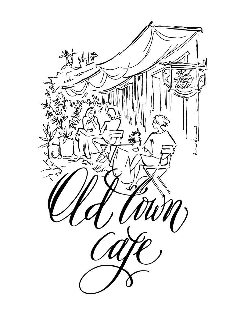 老街矢量素描。老城区咖啡馆。