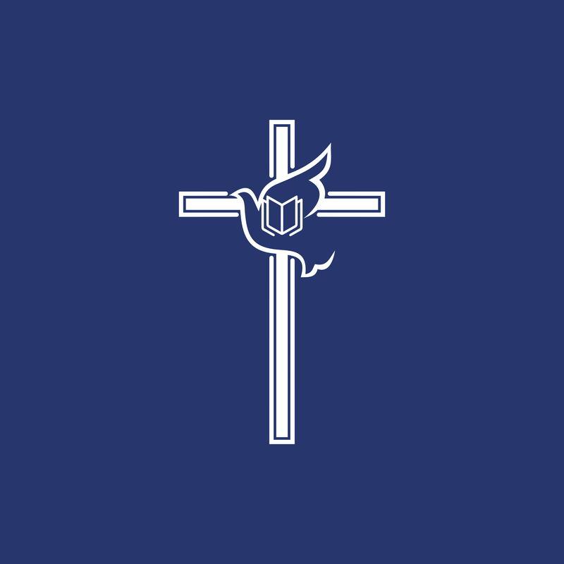 教堂标志-十字架和飞翔的鸽子-上帝的灵魂