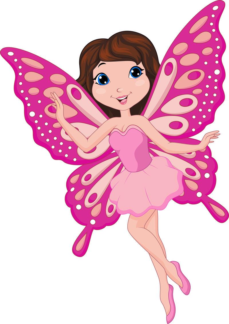 可爱的粉红仙女卡通