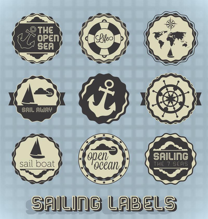 矢量集:复古帆船标签和图标