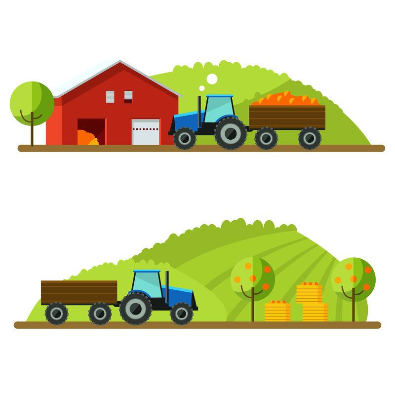 平面设计作物插图-农场-乡村景观背景-农业机械-乡村景观-田间拖拉机-农场生活-拖拉机田间概念作物