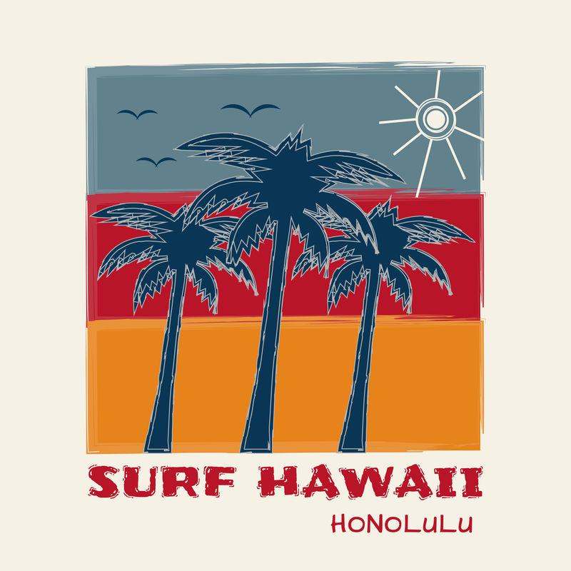 关于夏威夷檀香山冲浪主题的矢量插图-印刷-t恤图案-海报-横幅-传单-明信片