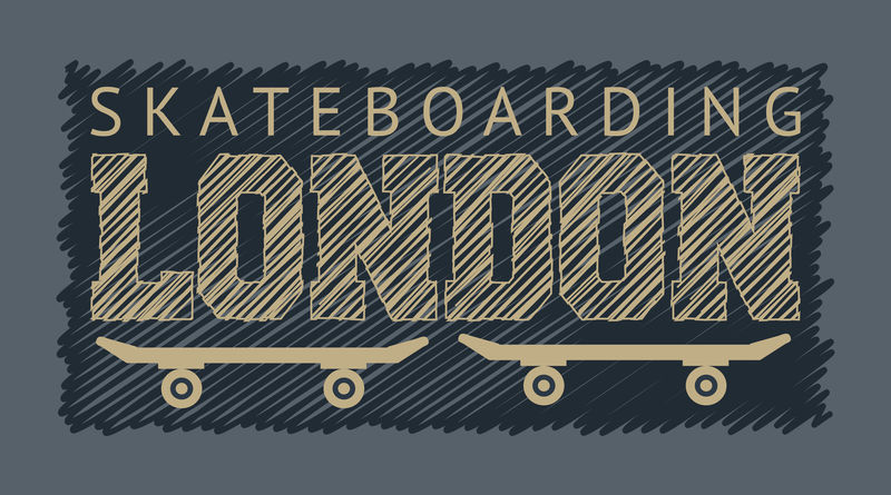 英国伦敦滑板和滑板主题的矢量插图-印刷-t恤图案-海报-横幅-传单-明信片