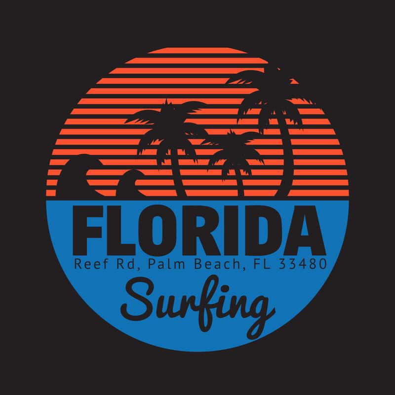 在佛罗里达棕榈滩冲浪和冲浪主题的矢量插图-印刷-t恤图案-海报-横幅-传单-明信片