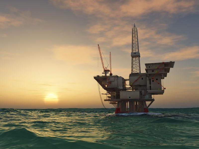 海洋石油钻机钻井平台。