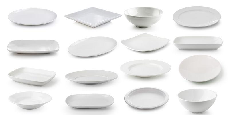 白底隔离白瓷盘碗